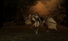 Dragon. 3d render of dragon scene Royalty Free Stock Image