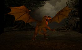 Dragon. 3d render of dragon scene Stock Photography