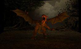 Dragon. 3d render of dragon scene Royalty Free Stock Images