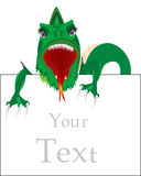 Dragon and advertising poster. Dragon with a sign for your text Royalty Free Stock Photos