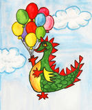 Dragon with air balloons Royalty Free Stock Photos