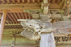 Dragon of Akita Shinto Shrine, Yokote, Japan. Carved dragon of Akita Shinto Shrine & x28;1879& x29; in Yokote, Japan. Shrine is located on the former main bailey Stock Images