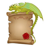 Dragon, ancient paper scroll and wax seal Royalty Free Stock Photos