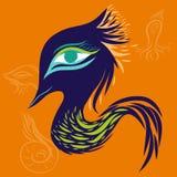Dragon art monster. Blue peacock ,orange background Stock Photos