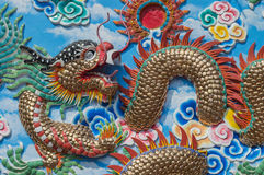 Mural painting Dragon art wall and wallpaper background Stock Photos