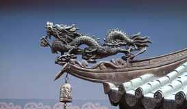 Dragon on Asian Roof. Dragon commonly found on asian roofs and temples stock photos