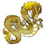 Dragon asiatique en métal d'or fascinant sur le blanc Photos stock