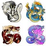 Dragon asiatique volant de colorfull de l'ensemble quatre Photographie stock