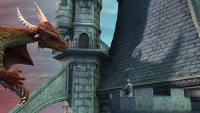 Dragon attacking the castle. And fighting with an elf Stock Photography