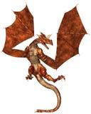 Dragon Attacking riportato in scala rosso Fotografie Stock Libere da Diritti