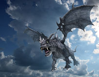 Dragon Attacking from the Sky Stock Photo