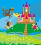 Dragon attacks the castle Stock Photo