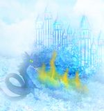 Dragon attacks the castle. Illustration Stock Images