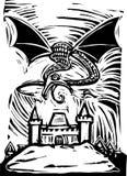 Dragon au-dessus de château Photo stock