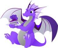 Dragon avec le gâteau Image stock