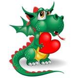 Dragon Baby Cartoon en el amor que celebra un ejemplo lindo del vector del carácter del corazón libre illustration