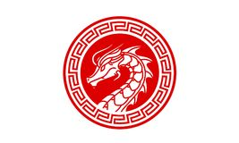 Dragon Badge Medallion Logo design inspiration. Classic, Antique, and easy to recognize. This is the right logo design for your company related to asia, asian Royalty Free Stock Images