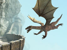 Dragon, balcon médiéval de château de pierre Image libre de droits