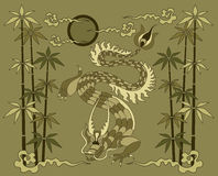 Dragon with bamboo Stock Image