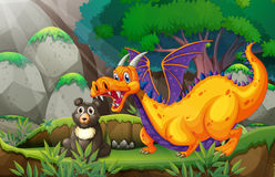 Dragon and bear Stock Images