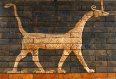 Dragon Beast on the Ishtar Gate. A tile painting of a Babylonian dragon beast once decorating the Ishtar Gate in Ancient Babylon - on display in the Topkapi stock photography