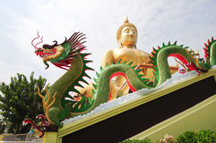 Dragon and Big Buddha Statue. Wonderful Dragon and very Buddha stautue in the morning Royalty Free Stock Image