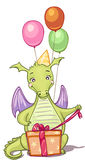 Dragon with birthday gifts and balloons vector illustration