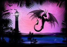 Dragon black fiery on a background. Of a pink sky. sunrise and palm trees Royalty Free Stock Photography