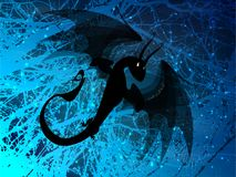 Dragon black fiery on blue. Frosty background illustration Royalty Free Stock Photo