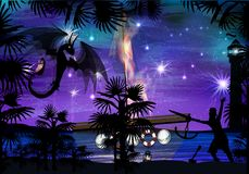 Dragon black fiery on a purple. Sky background. night and fight between pirates Stock Photo