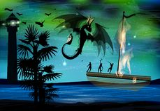 Dragon black fire on the background. Of a burning ship with people. war. palms and ocean Royalty Free Stock Photography