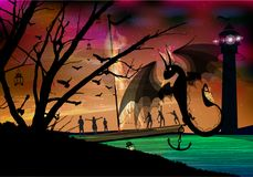 Dragon black fire on the background. Of the brighter sky. adventure and travel. middle Ages Royalty Free Stock Image