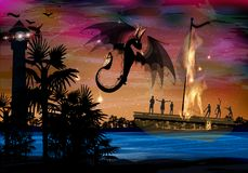 Dragon black fire on the background. Of a burning ship with people. war of dragons and people vector illustration