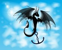 Dragon. black fire dragon against. The blue sky with clouds. holds anchor in paws Stock Photos