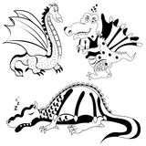 Dragon black illustration Royalty Free Stock Photography