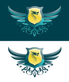 Dragon Blazon. A blazon or an emblem with the head of a dragon on the shield vector illustration