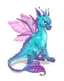 Dragon bleu d'imagination de bande dessinée Images stock