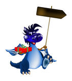 Dragon bleu-foncé un symbole de 2012 neuf Image stock