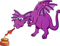 Dragon blowing birthday cake with fire. Cartoon illustration of a big funny dragon blowing birthday cake with fire Royalty Free Stock Image