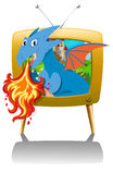 Dragon blowing fire on TV. Illustration Stock Images