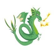 The dragon blows fire. Vector Illustration stock illustration