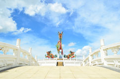 Dragon with blue sky. A dragon statue with blue sky Royalty Free Stock Photos