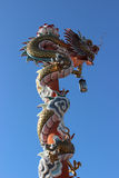 Dragon on blue sky. Sky Dragon statue in the Temple of Thai Stock Photography