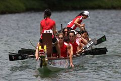 Dragon boat. Women dragonboats team of Canada, The 7th Club Crew World Championships, Macau 2010, China Stock Images
