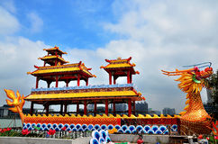 Dragon boat. Chinese dragon boat with blue sky Royalty Free Stock Photography