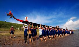 Dragon boat. Chinese dragon-boat race is a traditional activity in the South,  Lunar New Year Dragon Boat Festival each year, in southern China Royalty Free Stock Photos