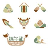 Dragon boat banner illustration icon set Stock Photos