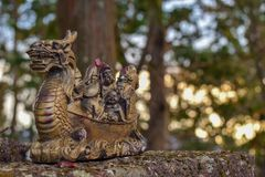 Dragon Boat Buddha Mt Toyama arkivbilder