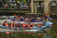Dragon Boat Competition at Melacca River royalty free stock photo