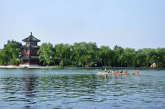 A dragon boat contest. In a lake Stock Photography